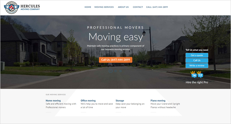 Web design created for Hercules Moving Company, ON