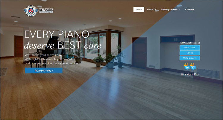 Web design agency created new and modern look for Hercules piano movers