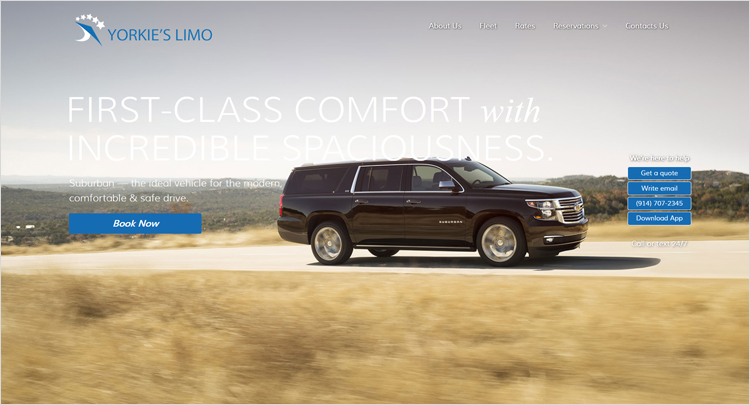 Web design and development company created new web layout for limo service