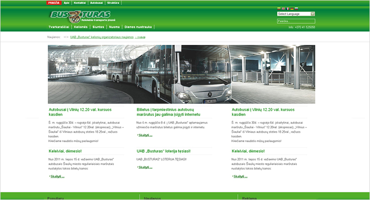 Web design development company on 2014 created web layout for transportation company